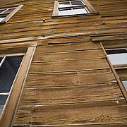 Upshot of a building facade in the historic ghost town of Bodie, California.