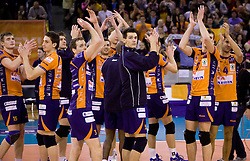 Vid Jakopin (15) of ACH, Dejan Vincic (9) of ACH, Daniel Lewis (3) of ACH, Alen Sket (5) of ACH, Alen Pajenk (2) of ACH and Marcelo Barreto (4) of ACH celebrate at volleyball match of CEV Indesit Champions League Men 2009/2010 between ACH Volley Bled (SLO) and Istanbul Buyuksehir BLD (TUR), on December 9, 2009 in Arena Tivoli, Ljubljana, Slovenia. (Photo by Vid Ponikvar / Sportida)