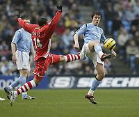 Photo: Aidan Ellis.<br /> Manchester City v Charlton Athletic. The Barclays Premiership. 12/02/2006.<br /> Charlton's Jerome Thomas challenges City's Joey Barton