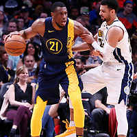 03 April 2018: Indiana Pacers forward Thaddeus Young (21) posts up Denver Nuggets guard Jamal Murray (27) during the Denver Nuggets 107-104 victory over the Indiana Pacers, at the Pepsi Center, Denver, Colorado, USA.