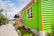View of the Queens Highway in the tiny village of Hope Town, Elbow Cay Abacos, Bahamas.