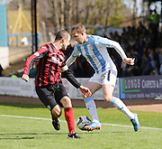 Dundee's David Clarkson runs at St Johnstone&rsquo;s David Mackay - Dundee v St Johnstone, SPFL Premiership at Dens Park <br /> <br />  - &copy; David Young - www.davidyoungphoto.co.uk - email: davidyoungphoto@gmail.com