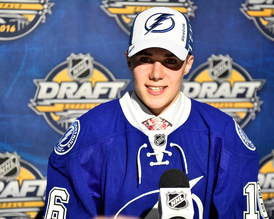 Brett Howden of the Moose Jaw Warriors was selected by the Tampa Bay Lightning in the first round of the 2016 NHL Entry Draft in Buffalo, NY on Friday June 24, 2016. Photo by Aaron Bell/CHL Images