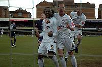Photo: Tony Oudot/Richard Lane Photography. <br /> Southend United v Swansea City. Coca-Cola League One. 21/03/2008. <br /> Swansea players celebrate Jason Scotlands opening goal