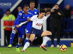 Tottenham Hotspur's Son Heung-min (right) and Leicester City's Ricardo Pereira battle for the ball