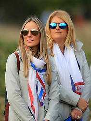Erica Stoll (left) and Katie Poulter watch the action during the Fourballs match on day one of the Ryder Cup at Le Golf National, Saint-Quentin-en-Yvelines, Paris.