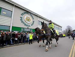 Police horses in front of Huish Park  - Photo mandatory by-line: Joe meredith/JMP - Mobile: 07966 386802 - 04/01/2015 - SPORT - football - Yeovil - Huish Park - Yeovil Town v Manchester United - FA Cup - Third Round