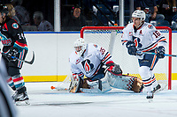 KELOWNA, CANADA - SEPTEMBER 5: Kyle Dumba #45 of the Kamloops Blazers defends the net against the Kelowna Rockets on September 5, 2017 at Prospera Place in Kelowna, British Columbia, Canada.  (Photo by Marissa Baecker/Shoot the Breeze)  *** Local Caption ***