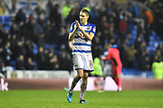 Dave Edwards (16) of Reading applauds, claps the fans at full time after a 1-0 win during the EFL Sky Bet Championship match between Reading and Queens Park Rangers at the Madejski Stadium, Reading, England on 30 March 2018. Picture by Graham Hunt.