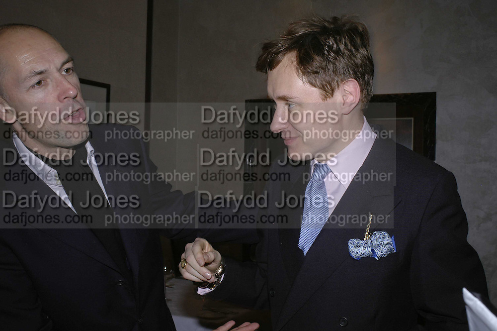 Dylan Jones and Nick Foulkes, Charles Finch and Weidenfeld and Nicolson host a party to celebrate the publication of 'Dancing Into Battle' by Nick Foulkes. The Westbury Hotel, Conduit St. London. 14 December 2006. ONE TIME USE ONLY - DO NOT ARCHIVE  © Copyright Photograph by Dafydd Jones 248 CLAPHAM PARK RD. LONDON SW90PZ.  Tel 020 7733 0108 www.dafjones.com