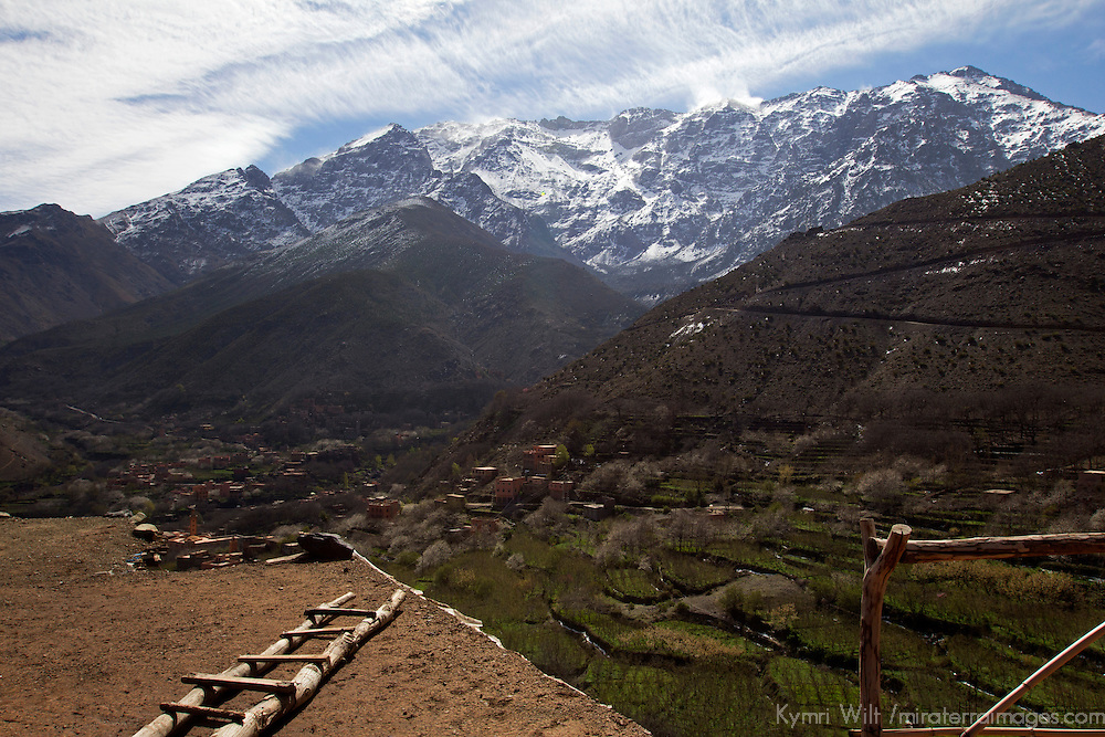 Africa, Morocco, Imlil. View from Berber home in Atlas Mountains;