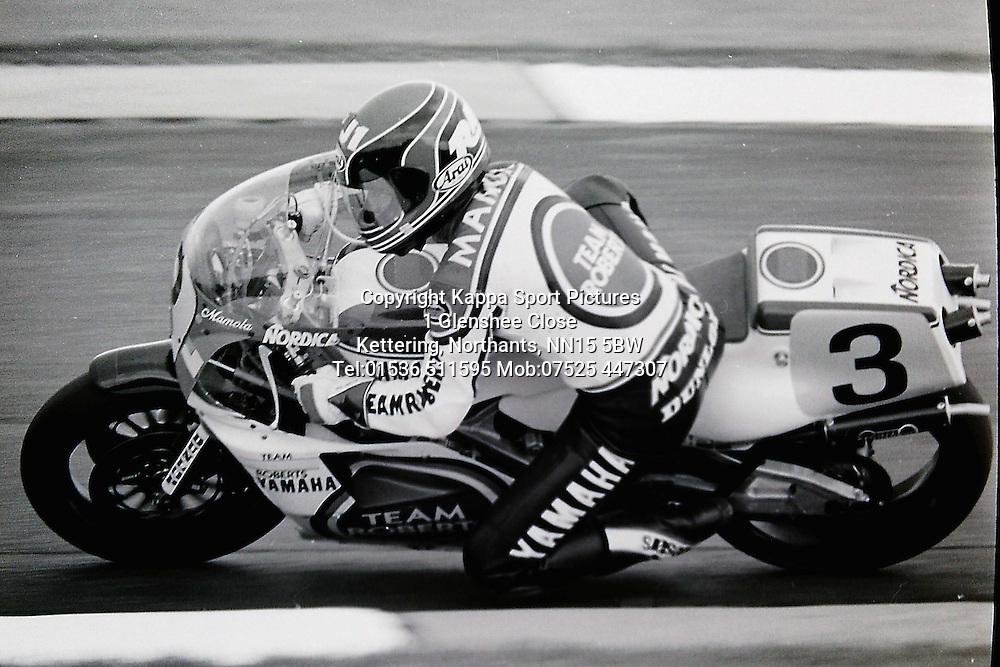 Randy Mamola USA, Team Roberts Lucky Strike  Yamaha, 500cc British Motor Cycle Grand Prix, Donington Park 1987