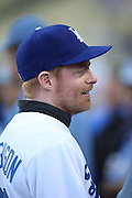 LOS ANGELES, CA - AUGUST 22:  Actor  Jesse Tyler Ferguson, co-star of the comedy television series Modern Family, chats on the field as he gets ready to throw out the celebratory first pitch before the Los Angeles Dodgers game against the New York Mets at Dodger Stadium on Friday, August 22, 2014 in Los Angeles, California. The Dodgers won the game 6-2. (Photo by Paul Spinelli/MLB Photos via Getty Images) *** Local Caption *** Jesse Tyler Ferguson