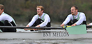 """LONDON, ENGLAND - Thursday  13/12/2012; Cambridge University Crew; """"Mash"""",  right to left , , 4: Helge Gruetjen, 5: George Nash and  6: Grant Wilson,, during the annual Varsity trial 8's for The BNY Melon University Boat Race over the Championship Course [Putney to Mortlake]. The River Thames, England. (Mandatory Credit/ Peter  Spurrier/Intersport Images]"""