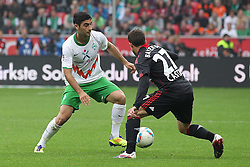 14.08.2011,  BayArena, Leverkusen, GER, 1.FBL, Bayer 04 Leverkusen vs SV Werder Bremen, im Bild.Mehmet Ekici (Bremen #20) (L) gegen Gonzalo Castro (Leverkusen #27)..// during the 1.FBL, Bayer Leverkusen vs Werder Bremen on 2011/08/14, BayArena, Leverkusen, Germany. EXPA Pictures © 2011, PhotoCredit: EXPA/ nph/  Mueller *** Local Caption ***       ****** out of GER / CRO  / BEL ******
