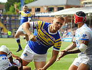 Brad Dywer of Leeds Rhinos celerbrates  scoring his try against Toulouse Olympique during the Betfred Super 8s Qualifiers match at Emerald Headingley Stadium, Leeds<br /> Picture by Stephen Gaunt/Focus Images Ltd +447904 833202<br /> 11/08/2018