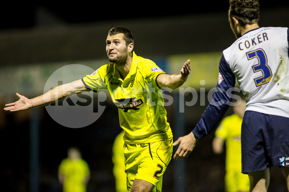 Phil Edwards of Burton Albion angry about a decision during the Sky Bet League 2 match between Southend United and Burton Albion at Roots Hall, Southend, England on 19 December 2014. Photo by Liam McAvoy.