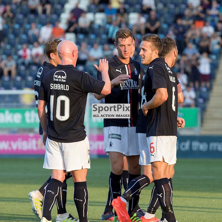 Falkirks Will Vaulks celebrates the opener with Falkirks Craig Sibbald.Falkirk v Elgin City, Scottish Football League Betfred Cup, 19th July 2016. (c) Paul Cram   SportPix.org.uk