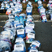 November 1, 2015 - New York, NY : Runners' belongings, packaged in numbered plastic bags, await their owners' arrival near the finish line in Central Park at the conclusion of the 2015 TCS New York City marathon on Sunday.<br />  CREDIT: Karsten Moran for The New York TImes