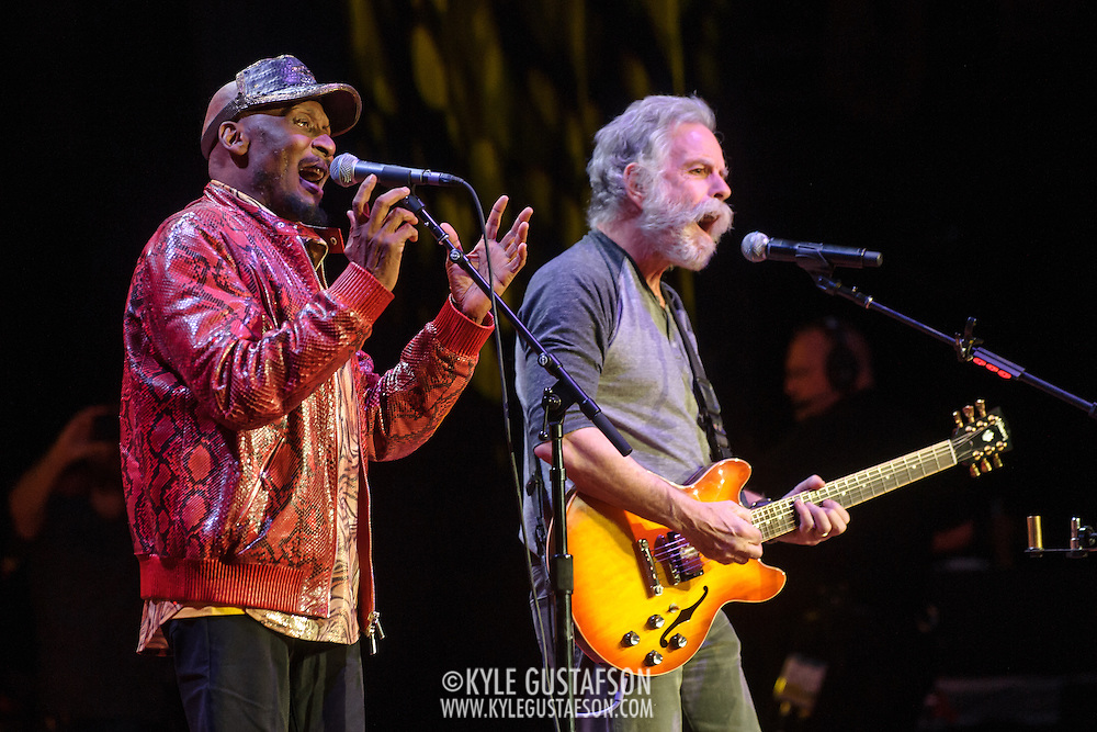 COLUMBIA, MD - May 14, 2015 - Jimmy Cliff and Bob Weir perform during the Dear Jerry: Celebrating the Music of Jerry Garcia concert at Merriweather Post Pavilion in Columbia, MD. (Photo by Kyle Gustafson / For The Washington Post)