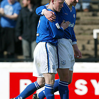 Ayr Utd v St Johnstone...24.04.04  <br />Mark Baxter congratulates Chris Hay on his equaliser<br /><br />Picture by Graeme Hart.<br />Copyright Perthshire Picture Agency<br />Tel: 01738 623350  Mobile: 07990 594431