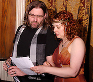 "Jerry (left) and Tamra Francis during Mayhem & Mystery's production of ""Tragedy in the Theater"" at the Spaghetti Warehouse in downtown Dayton, Monday, February 28, 2011."