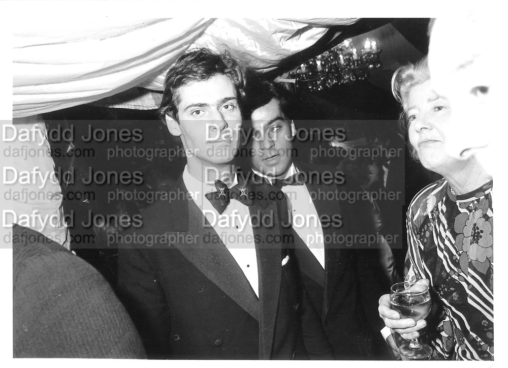 David Faber ( wearing  assasins bow tie ) and Abdul Faradani. Ball. 1982.   © Copyright Photograph by Dafydd Jones 66 Stockwell Park Rd. London SW9 0DA Tel 020 7733 0108 www.dafjones.com