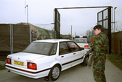 One of the cars containing the two Iraqi prisoners of war entering Rollestone Camp, Salisbury Plain.
