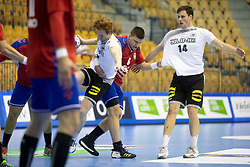 Vuk Milenkovic of Serbia and Jannek Klein of Germany during handball match between National teams of Serbia and Germany in Main Round of 2018 EHF U20 Men's European Championship, on July 25, 2018 in Arena Zlatorog, Celje, Slovenia. Photo by Urban Urbanc / Sportida