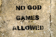 No God Games Allowed, Graffiti Sprayed on Wall - September 2009