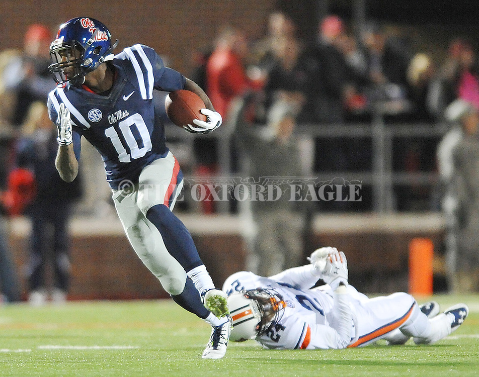 Ole Miss' wide receiver Vince Sanders (10) breaks away from Auburn Tigers' defensive back Derrick Moncrief (24) at Vaught-Hemingway Stadium in Oxford, Miss. on Saturday, November 1, 2014. Auburn won 35-31.(AP Photo/Oxford Eagle, Bruce Newman)