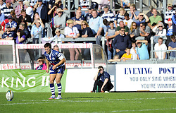 Bristol Rugby's Tristan Roberts lines up a conversion - Photo mandatory by-line: Joe Meredith/JMP - Tel: Mobile: 07966 386802 06/10/2013 - SPORT - FOOTBALL - RUGBY UNION - Memorial Stadium - Bristol - Bristol Rugby V Bedford Blues - The Championship