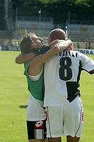Siena 29-05-2005<br />Campionato di calcio serie A 2004-05 Siena Atalanta<br />Nella foto Argilli che esulta con Colonnese dopo il gol vittoria<br />Foto Snapshot / Graffiti