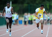 21 Aug 2016: Charles Okafor, left, from Westmeath, and Johnson Banura, from Donegal, on their way to finishing 1st and 2nd respectively in the Boys U14 100m Final. 2016 Community Games National Festival 2016.  Athlone Institute of Technology, Athlone, Co. Westmeath. Picture: Caroline Quinn