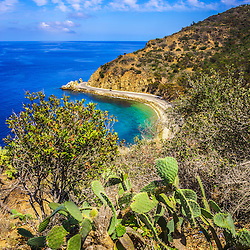 Lover's Cove Catalina Island aerial photo. Lovers Cove is a popular spot on Catalina Island for snorkeling and diving. Catalina Island is a popular travel destination off the coast of Southern California in the United States.