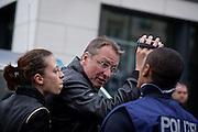 Frankfurt am Main   11 Apr 2015<br /> <br /> Am Samstag (11.04.2015) demonstrierten etwa 35 Personen der Gruppe &quot;Freie B&uuml;rger f&uuml;r Deutschland&quot; (FBfD, ex PEGIDA) auf dem Rossmarkt in Frankfurt am Main gegen &quot;Islamisierung&quot;, ihre Redebeitr&auml;ge gingen in dem Geschrei der etwa 800 Gegendemonstranten unter.<br /> Hier: Michael St&uuml;rzenberger, Aktivist der Partei &quot;Die Freiheit&quot;, und die PEGIDA-Aktivistin Ester Seitz.<br /> <br /> &copy;peter-juelich.com<br /> <br /> [Foto honorarpflichtig   No Model Release   No Property Release]