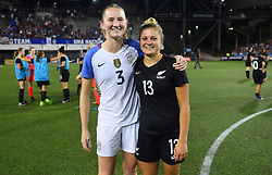 September 19, 2017 - Cincinnati, OH, USA - Cincinnati, OH - Tuesday September 19, 2017: Samantha Mewis, Rosie White during an International friendly match between the women's National teams of the United States (USA) and New Zealand (NZL) at Nippert Stadium. (Credit Image: © Brad Smith/ISIPhotos via ZUMA Wire)