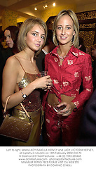 Left to right, sisters LADY ISABELLA HERVEY and LADY VICTORIA HERVEY, at a party in London on 13th February 2002.	OXI 70