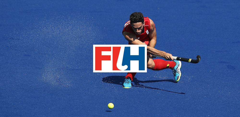 RIO DE JANEIRO, BRAZIL - AUGUST 14:  Tanguy Cosyns of Belgium takes a shot at goal during the Men's hockey quarter final match between Belgium and India on Day 9 of the Rio 2016 Olympic Games at the Olympic Hockey Centre on August 14, 2016 in Rio de Janeiro, Brazil.  (Photo by David Rogers/Getty Images)