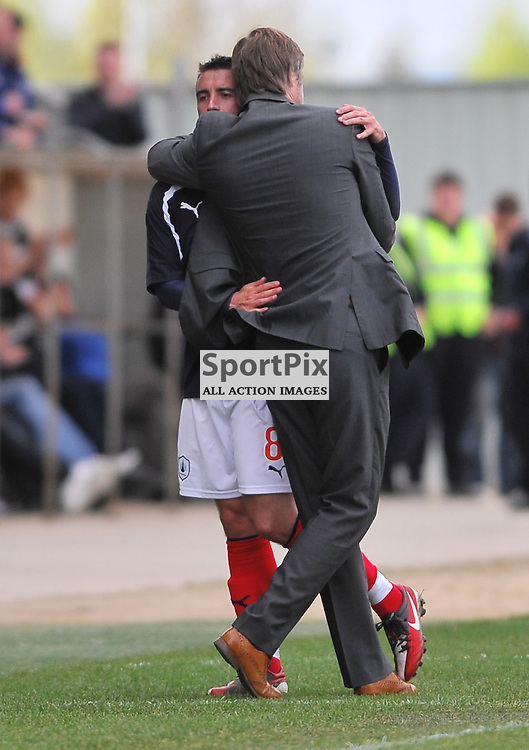 Mark Millar (left) is substituted in his last appearance for Falkirk..Falkirk v Ayr, SFL 1st Division, Saturday 5th May 2012..ALEX TODD | STOCKPIX.EU
