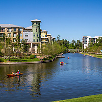 Kayaks enjoying a beautiful spring day at the Woodlands waterway in Houston.
