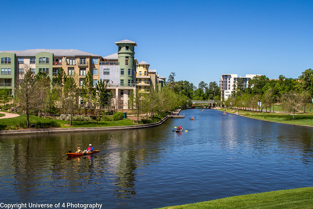 Kayaks enjoying a beautiful spring day at the Woodlands waterway in Houston.