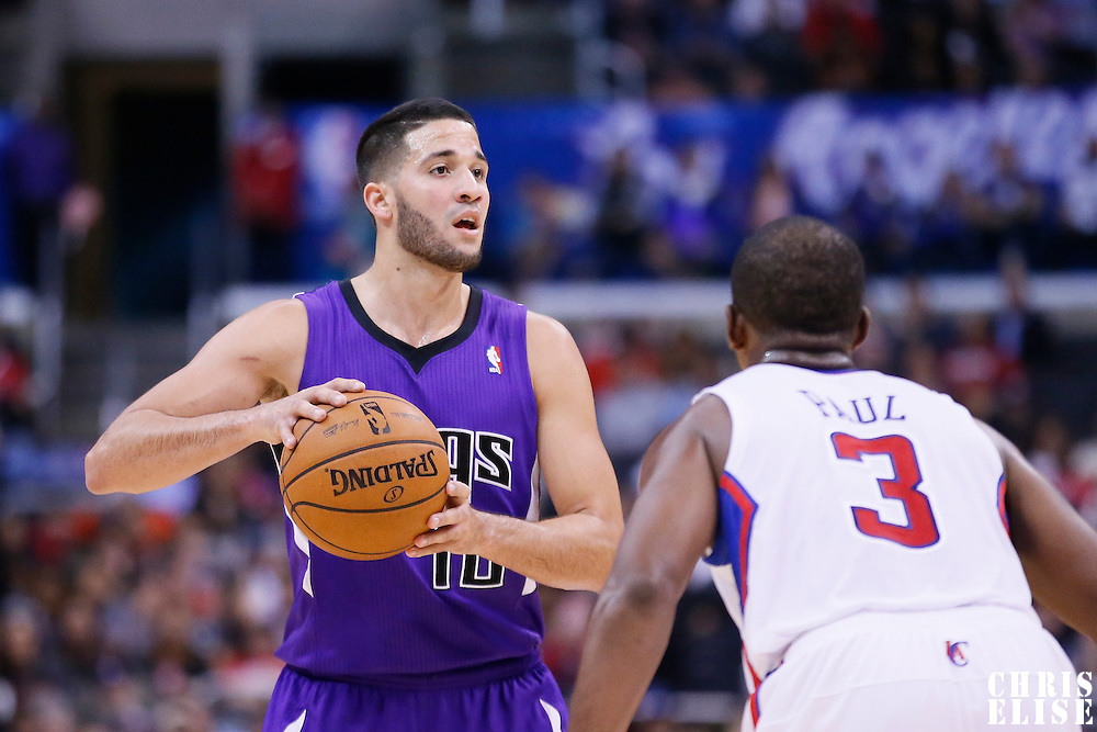 25 October 2013: Sacramento Kings point guard Greivis Vasquez (10) looks to pass the ball during the Sacramento Kings 110-100 victory over the Los Angeles Clippers at the Staples Center, Los Angeles, California, USA.