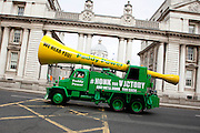 No fee for Repro: 17/06/2012 .Top bookie Paddy Power sent its record breaking Vuvuzela truck onto the streets of Dublin on Sunday morning to help rally Ireland fans once last time around the Boys in Green ahead of their final Euro 2012 match against Italy tomorrow night.  Ireland fans can show their support by following the Twitter conversation #HONKforVICTORY! Picture: Andres Poveda Sharppix