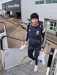 CARDIFF, WALES - Thursday, March 26, 2015: Wales' James Collins boards the flight at Cardiff Airport as the squad prepare to fly to Tel Aviv ahead of the UEFA Euro 2016 qualifying Group B match against Israel. (Pic by David Rawcliffe/Propaganda)