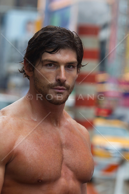 very sexy shirtless man in New York City