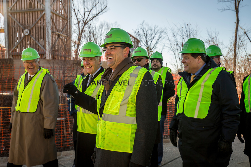 1/12/18 11:20:20 AM -- Halliburton CEO Jeff Miller and George Kaiser visit the Gathering Place for a press conference announcing Halliburton's support for the park. <br /> <br /> Photo by Shane Bevel
