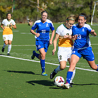 2nd year forward Kirsten Finley (2) of the Regina Cougars in action during the women's soccer home game on October 1 at U of R Field. Credit: Arthur Ward/Arthur Images