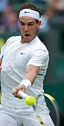 LONDON, ENGLAND - Monday, June 20, 2011: Rafael Nadal (ESP) in action during the Gentlemen's Singles 1st Round match on during day one of the Wimbledon Lawn Tennis Championships at the All England Lawn Tennis and Croquet Club. (Pic by David Rawcliffe/Propaganda)