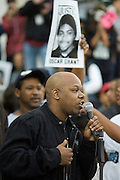 Todd Anthony Shaw also know as Too Short the rapper speaks to a protest gathered outside of Oakland's City Hall. The protest comes hours after attorney Christopher Miller held a press conference in Sacramento on behalf of the Bart Police officer Johannes Mehserle,who was charged with murder for his shooting of Oscar Grant...Photo by Jason Doiy.1-14-09.047-2009